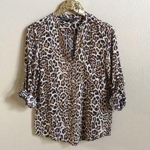 Zara Animal Leopard Print Tunic Top